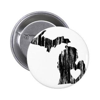 I Heart Michigan Grunge Worn Outline State Love Pinback Button