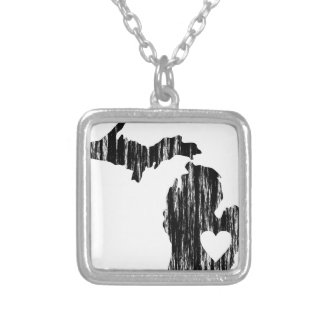 I Heart Michigan Grunge Worn Outline State Love Silver Plated Necklace