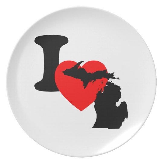 I Heart Michigan Melamine Plate