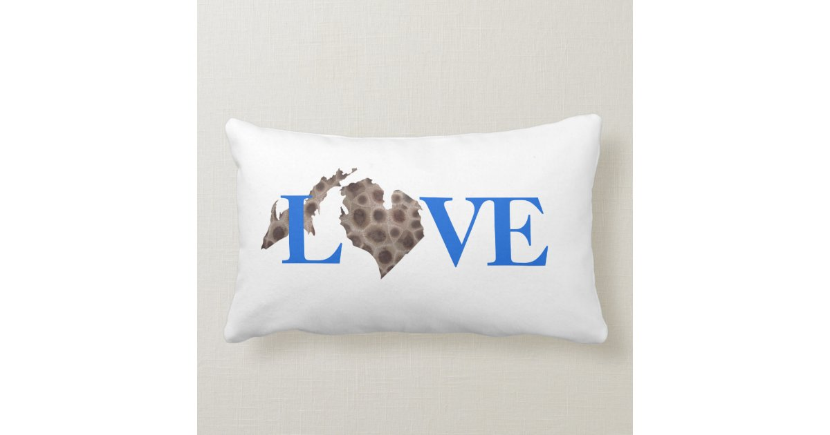 I Heart Michigan Petoskey Stone Lumbar Pillow Zazzle Com