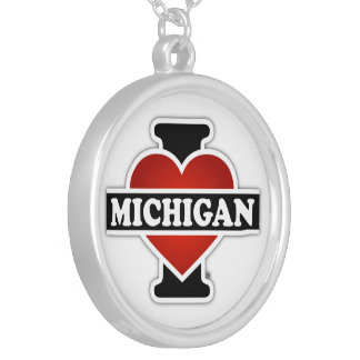 I Heart Michigan Silver Plated Necklace