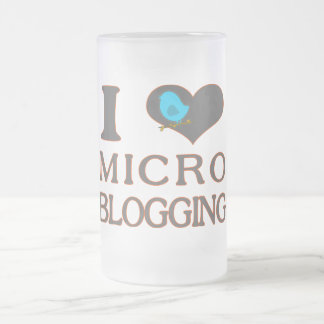 I Heart Micro Blogging Frosted Glass Beer Mug