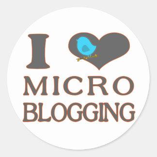 I Heart Micro Blogging Round Stickers