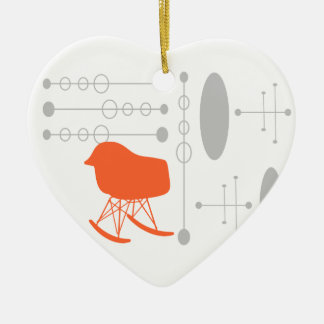 I Heart Mid-Century Gray Pattern Chair Silhouette Ceramic Ornament