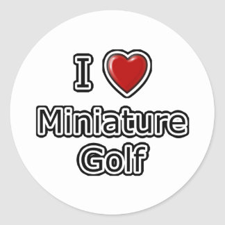 I Heart Miniature Golf Classic Round Sticker