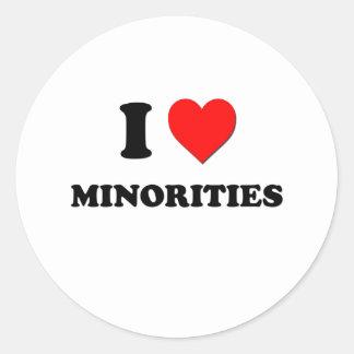 I Heart Minorities Round Stickers