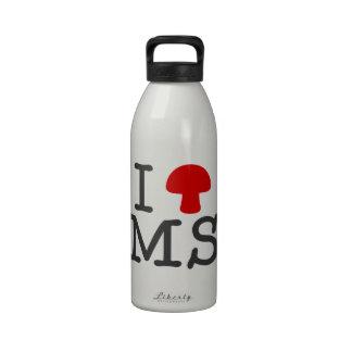 I HEART Mississippi - Solid Red Magic Mushroom Water Bottle