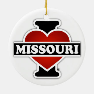 I Heart Missouri Double-Sided Ceramic Round Christmas Ornament