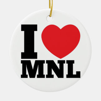 I Heart MNL Ceramic Ornament