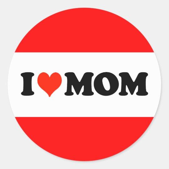 I Heart Mom Classic Round Sticker