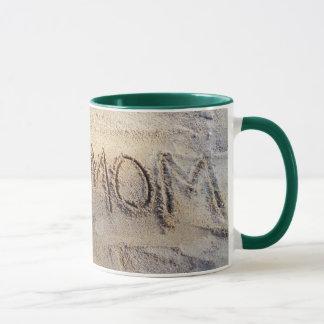 I heart Mom, sand writing beach love mug