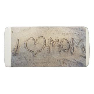 I heart Mom sand writing beach summer love, eraser