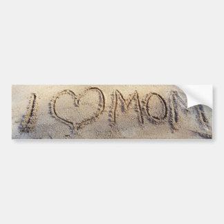 I Heart Mom, Words on sunny sand beach, Summer Bumper Sticker