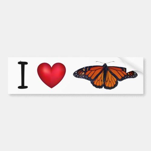 I heart Monarch Butterflies bumper sticker