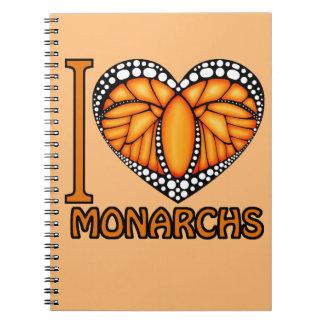 I heart monarchs! spiral notebook