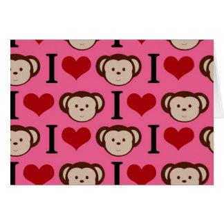 I Heart Monkey Pink I Love Monkeys Valentines Card