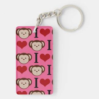 I Heart Monkey Pink I Love Monkeys Valentines Keychain