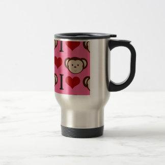 I Heart Monkey Pink I Love Monkeys Valentines 15 Oz Stainless Steel Travel Mug