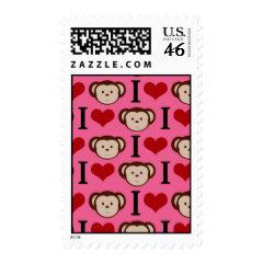 I Heart Monkey Pink I Love Monkeys Valentines Postage