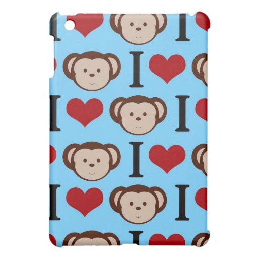 I Heart Monkeys Blue iPad Mini Case