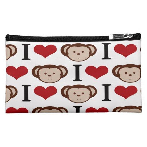 I Heart Monkeys I Love Monkey Valentines Gift Cosmetic Bags