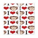 I Heart Monkeys I Love Monkey Valentines Gift Stretched Canvas Prints