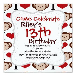 I Heart Monkeys I Love Monkey Valentines Gift Card