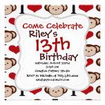 I Heart Monkeys I Love Monkey Valentines Gift Personalized Invites