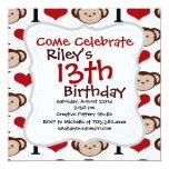 "I Heart Monkeys I Love Monkey Valentines Gift 5.25"" Square Invitation Card"