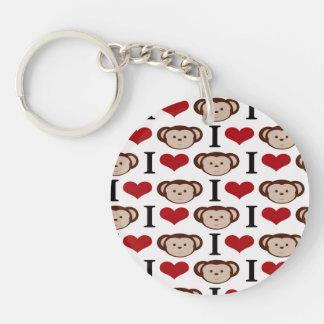 I Heart Monkeys I Love Monkey Valentines Gift Keychain