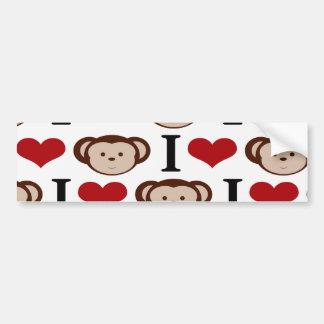 I Heart Monkeys I Love Monkey Valentines Gifts Bumper Sticker