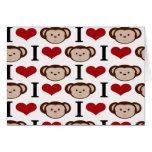 I Heart Monkeys I Love Monkey Valentines Gifts Cards