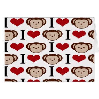 I Heart Monkeys I Love Monkey Valentines Gifts Card