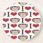 I Heart Monkeys I Love Monkey Valentines Gifts Beverage Coasters