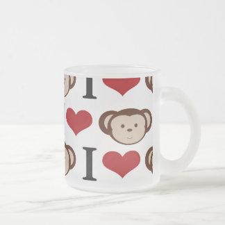 I Heart Monkeys I Love Monkey Valentines Gifts 10 Oz Frosted Glass Coffee Mug