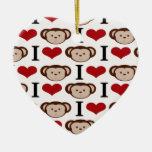 I Heart Monkeys I Love Monkey Valentines Gifts Christmas Ornaments