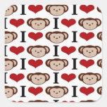 I Heart Monkeys I Love Monkey Valentines Gifts Sticker