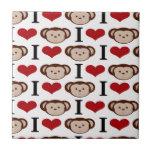 I Heart Monkeys I Love Monkey Valentines Gifts Ceramic Tiles
