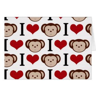 I heart monkeys on a white background. greeting card