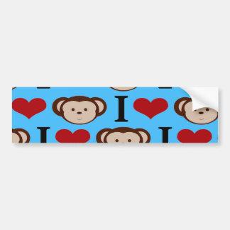 I Heart Monkeys Turquoise Teal Blue Valentines Bumper Sticker