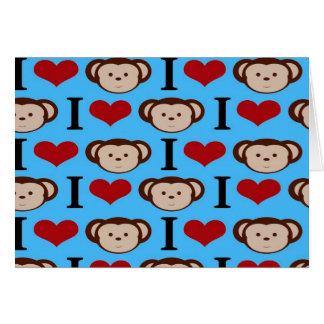 I Heart Monkeys Turquoise Teal Blue Valentines Card