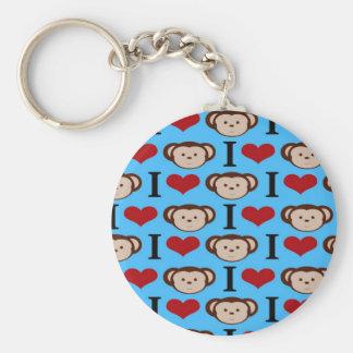 I Heart Monkeys Turquoise Teal Blue Valentines Keychain