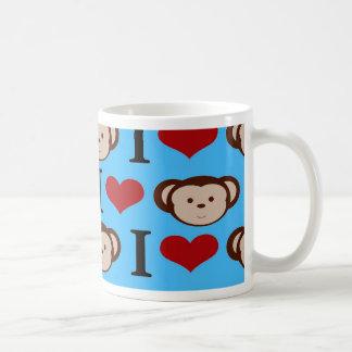 I Heart Monkeys Turquoise Teal Blue Valentines Classic White Coffee Mug
