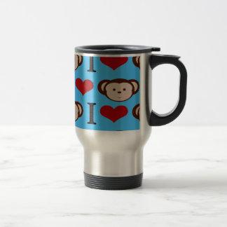I Heart Monkeys Turquoise Teal Blue Valentines 15 Oz Stainless Steel Travel Mug
