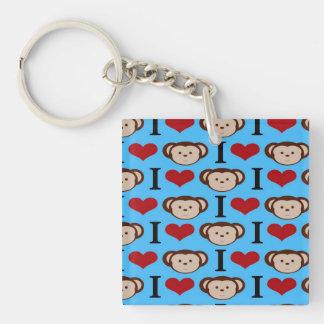 I Heart Monkeys Turquoise Teal Valentines Keychain