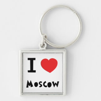 I heart Moscow Silver-Colored Square Keychain