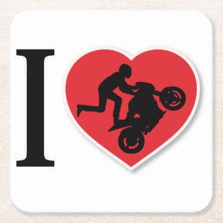 I Heart Motorcycle Wheelies Square Paper Coaster
