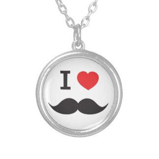 I Heart Moustache Round Pendant Necklace