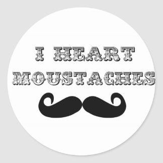 I Heart Moustaches Classic Round Sticker