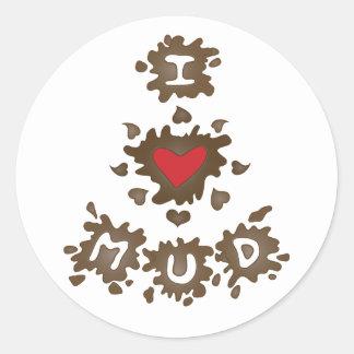 I Heart Mud Classic Round Sticker